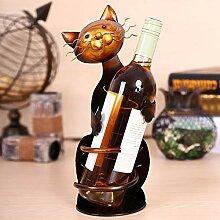 Henan Weinregal mit Katzenmotiv, aus Metall,