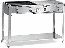 Hendi Gasgrill Grill-Master Quattro - Inkl. 2 vernickelten Rosten und einer emmailierten Grillplatte