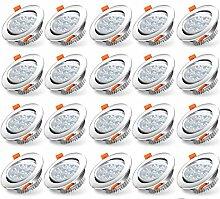 Hengda 20x LED Einbaustrahler Dimmbar Flach 7W