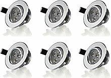 Hengda® 6er Pack LED Einbaustrahler Alu - Rund -