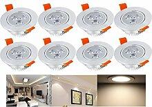 Hengda® 8 Stück LED Einbaustrahler 3W