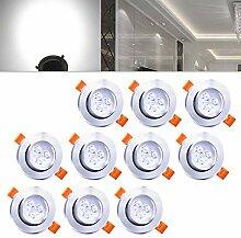 Hengda® Einbaustrahler 10er pack 3W LED Kaltweiß