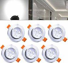 Hengda Einbaustrahler 6er pack 3W LED Kaltweiß