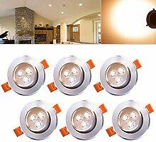 Hengda® Einbaustrahler 6er pack 3W LED Warmweiß