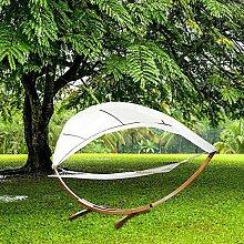 Hengda® Für Garten, Terrasse und Haus 415cm Hängematte mit Gestell Hängemattengestell Hängematten Holz +Dach bis 200kg