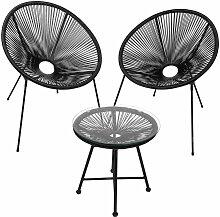 Hengda - Gartenmöbel-Set 3er-Set Tisch mit