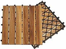 Hengda Terrassenfliese Holzfliesen Akazie 1m²,