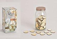henger-mauk Wunschglas mit 100 Herzen aus Holz,