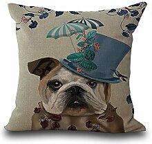 hengjiang Baumwolle Leinen Kissenbezug 18x 18Kissen werfen Kissen Fall Sofa Dekoration Cute Cartoon Bulldog #02