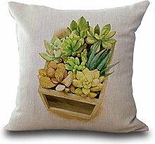 hengjiang Baumwolle Leinen Kissenbezug 18x 18Kissen werfen Kissen Fall Sofa Dekoration Mini Pflanze Succulents 05