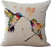 hengjiang Baumwolle Leinen Kissenbezug dekorativer Überwurf-Kissenbezug Sofa Tinte Malerei Vögel 02