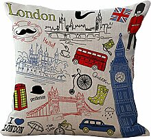 hengjiang British Style Baumwolle/Leinen Home Kissen Bezug Kissenbezüge Weich Bett Eckig Sofa London 08
