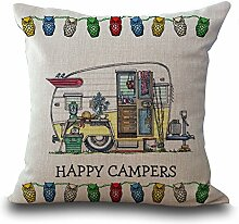 hengjiang Cartoon Camping Auto Baumwolle Leinen Kissenbezug 18x 18Kissenbezüge Werfen Kissen Fall Sofa Dekoration Happy Camper 01