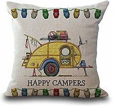 hengjiang Cartoon Camping Auto Baumwolle Leinen Kissenbezug 18x 18Kissenbezüge Werfen Kissen Fall Sofa Dekoration Happy Camper 04