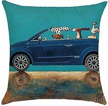 hengjiang Creative Hund fahren Auto weiche Kissenhülle Kissenbezug Baumwolle Double-Seite quadratisch Dekorative Home Zubehör (# 00) #21