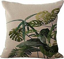 hengjiang Green Plant Baumwolle/Leinen Home Kissen Bezug Kissenbezüge Weich Bett Eckig Sofa Green Leaves 09