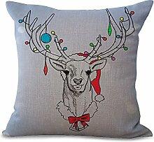 hengjiang Leinen Baumwolle NEU Jahr Kissen Kissenbezug Werfen Kissen Fall Weihnachten #22