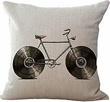 hengjiang Leinen-Mischgewebe Sofa Creative Fruit Kissenhülle Bike quadratisch Kissen Fall 07