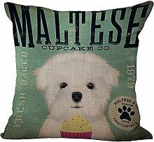 hengjiang Lovely Pet Baumwolle Leinen Quadratisch Home Decor Kissenbezug Creative Kissen Fall Süßer Hund (# 00) #12