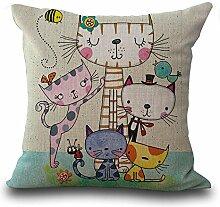 hengjiang Mädchen Kissenbezug Bett Kopfkissenbezug Kissen Dekorative Weich Bezug Cartoon Cute Cat 05