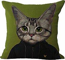 hengjiang Modern Cartoon Katze Leinen Baumwolle Dekoratives Kissen Kissenbezug Fall Mr. Cat 02