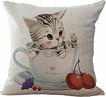 hengjiang Nordic einfachen Stil Baumwolle Leinen Kissenbezug 18x 18Kissen werfen Kissen Fall Sofa Dekoration Cute Animal Katzen (# 00) #02