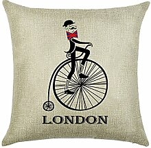 hengjiang Retro Fahrrad Story Home Kissen Bezug Baumwolle Bettwäsche Kissenbezug Quadratisch Double-Seite Kissen Classic Bike Geschichte (# 00) #04