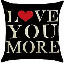 hengjiang Text Wort LOVE Muster L O V E Kissen rot Lippen Herzform 120g doppelseitig Dicke Baumwolle Leinen 45x 45cm Kissen Fall Kissen für Home Stuhl Sofa Bett Shop Decor 12