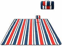 HENGMEI 150x 200CM Faltbare Picknickdecke Wasserdicht Stranddecke Campingdecken XL Outdoordecke für Gras Reise, Familientee Party (Rot+Blau Streifen)
