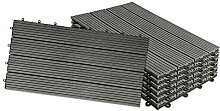 HENGMEI 6x Terrassenfliesen WPC 30x60cm Holz-Optik
