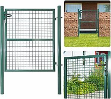 HENGMEI Gartentür Gartentor Hoftor Zaun Doppeltor Inkl. Schloss Tür, Tor, Zauntor, Zauntür, Gartentür, Gartenzaun (125*100cm)