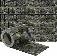 HENGMEI PVC Sichtschutzstreifen mit Befestigungsclipse Sichtschutzfolie Windschutz Stabmattenzaun Gartenzaun Blickdicht (65m x 19cm, Stein-Optik)