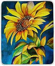 hengpai Art Retro Sonnenblumen-Print Decke weich