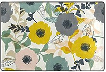 hengpai Teppich mit Blumenmuster, rutschfest,
