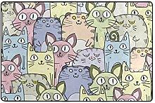 hengpai Teppich mit Katzenmotiv, rutschfest,