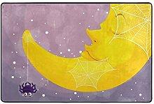 hengpai Teppich mit Spinne und Mond, rutschfest,