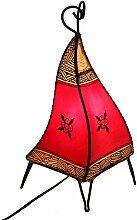 Hennalampe Lederlampe Chey 36cm rot orientalische Lampe Tischleuchte Nachttischlampe