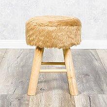 Henry Design Hocker Sitzhocker Vollholz Fell Fellimitat beige H:42cm
