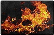 HEOEH Feuer-Teppich, dunkel, rutschfest, für