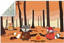HEOEH Fußmatte Fox-Familie, Waldfeuer, 183 x 119