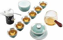 HePing Wu Blaue und weiße Porzellan-Tee-Set Kung