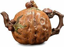 HePing Wu Walnut Topf Teekanne (Color : Brown)