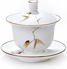 HePing Wu Weißes Jade Porzellan Teeschale weiße