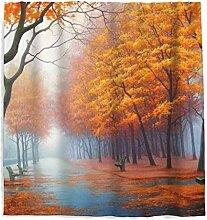 Herbst Ahorn Gefallen Blätter Duschvorhang mit
