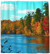 Herbst Ahorn Natur Landschaft Duschvorhang mit
