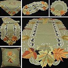 Herbst Blätter Tischband Tischläufer Tischdecke Kissenhülle Leinen-Optik Grün Beige - Größe wählbar (ca. 30 x 160 cm)