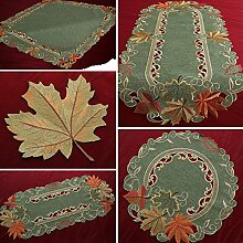 Herbst Blätter Tischläufer Tischdecke Mitteldecke Deckchen Ahorn Grün Gelb Orange (ca. 85 x 85 cm Eckig)