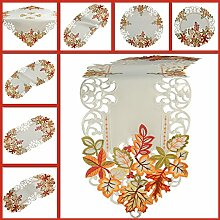 Herbst Tischläufer Tischdecke Weiß gestickt mit