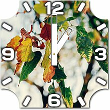 Herbstblätter, Design Wanduhr aus Alu Dibond zum Aufhängen, 30 cm Durchmesser, breite Zeiger, schöne und moderne Wand Dekoration, mit qualitativem Quartz Uhrwerk