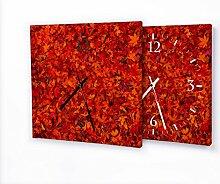 Herbstblätter - Lautlose Wanduhr mit Fotodruck auf Leinwand Keilrahmen | geräuschlos kein Ticken Fotouhr Bilderuhr Motivuhr Küchenuhr modern hochwertig Quarz | Variante:30 cm x 30 cm mit schwarzen Zeigern - GERÄUSCHLOS